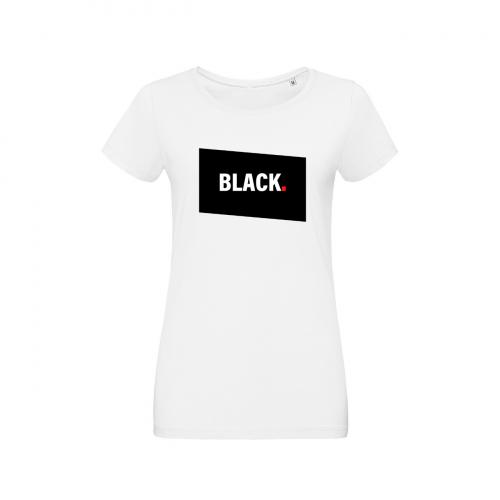 Tshirt-wow-femme-col-rond-blanc-modèle-black